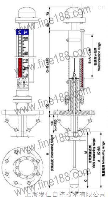 用于极小密度介质或小安装孔磁性翻柱液位计