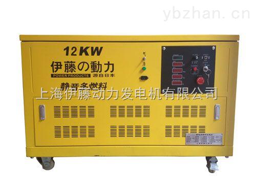 带轮子12KW静音汽油发电机