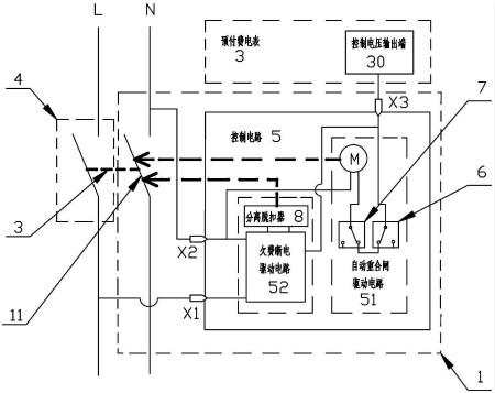 控制电路,采用主断路器1和副断路器4并排设置的结构